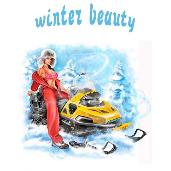 Экстремальная футболка - Красота зимы - снегоход - коллекция комикс от X-shirt.ru