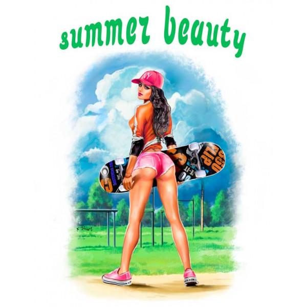 Экстремальная футболка - Красота лета - скейт - коллекция комикс от X-shirt.ru