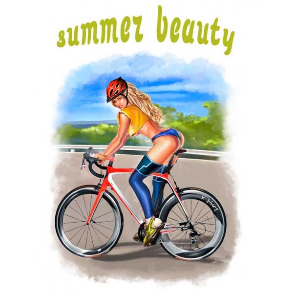 Экстремальная футболка - Красота лета - велосипед - коллекция мемы от X-shirt.ru