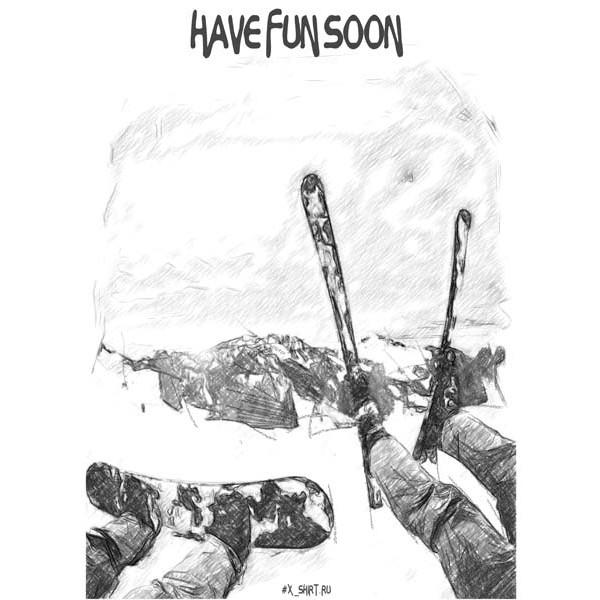 Экстремальная футболка - Сноуборд и горные лыжи в стиле скетч - коллекция скетч от X-shirt.ru