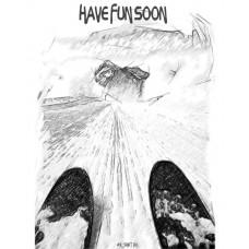 Горные лыжи на вельвете в стиле скетч