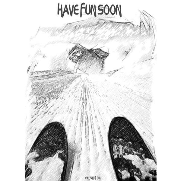 Экстремальная футболка - Горные лыжи на вельвете в стиле скетч - коллекция скетч от X-shirt.ru