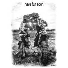Любовь мотоциклистов в стиле скетч