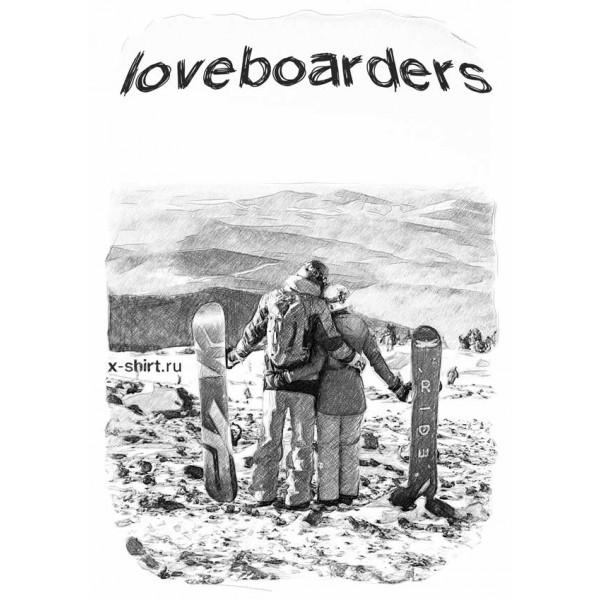 Экстремальная футболка - Влюбленные сноубордисты в стиле скетч - коллекция скетч от X-shirt.ru