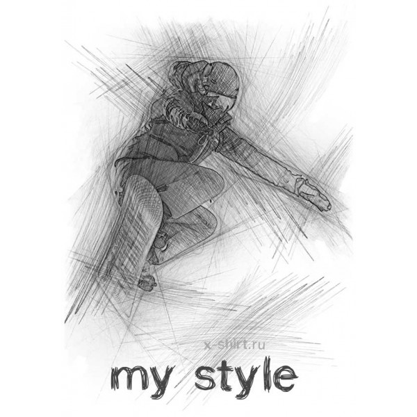 Экстремальная футболка - Сноубордист в прыжке в стиле скетч - коллекция скетч от X-shirt.ru