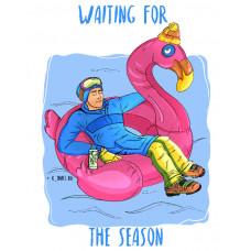 Горнолыжник в бассейне ждет сезон