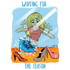 Девушка у витрины с ледовыми коньками