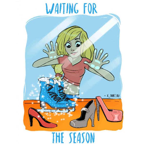 Экстремальная футболка - Девушка у витрины с ледовыми коньками - коллекция комикс от X-shirt.ru